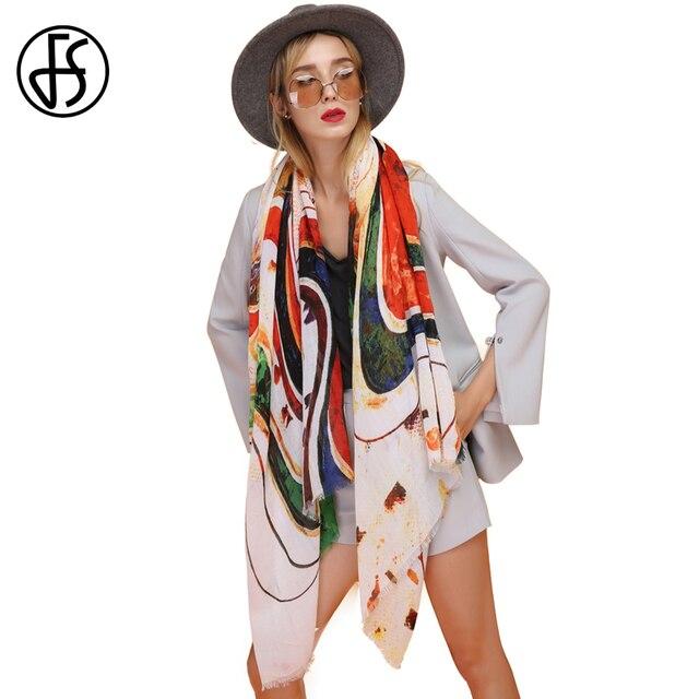 27dcde42f25 FS Echarpe Foulard Femme Bandana Women Cotton Head Scarf Scarves Shawls  Pashmina For Ladies Wraps Rainbow