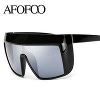 AFOFOO Fashion Oversized Sunglasses Brand Designer Women Mirror Sun Glasses Reflective UV400 Shades Big Frame Goggle