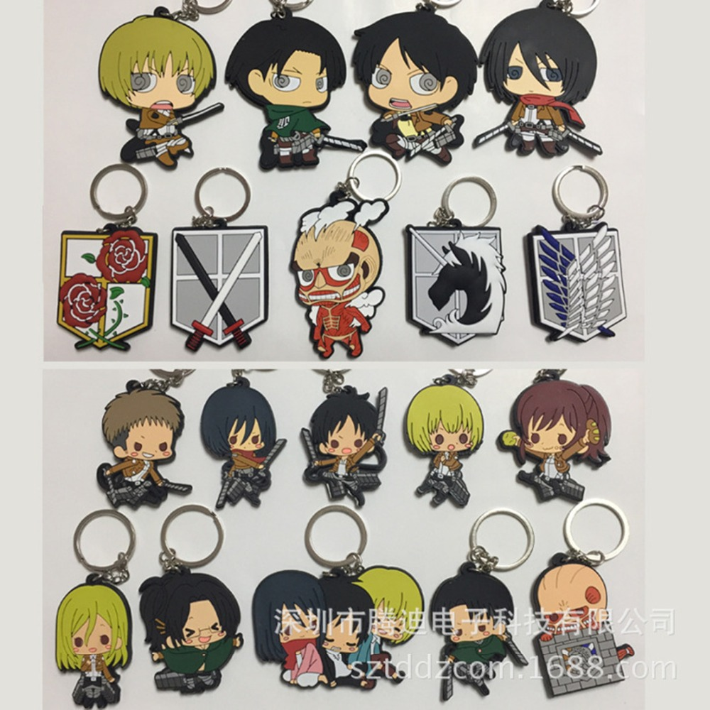 Attack on Titan Cartoon PVC double sided soft keychain Wings of Liberty Rivaille Levi fashion funny pendants Toy gift KeyRing crash bar mt 09