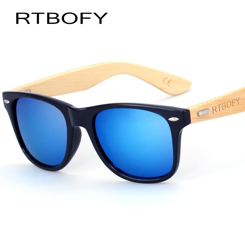 RTBOFY Bois lunettes de Soleil Hommes Bambou Soleil verre Marque Conception Lunettes Or Miroir Lunettes de Soleil Nuances lunette lunettes