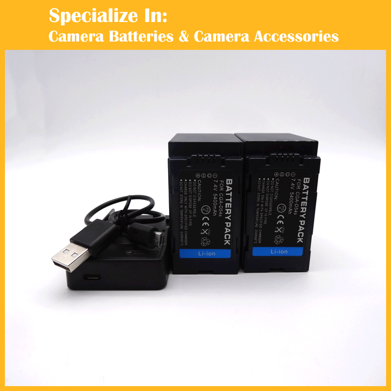 CGA-D54s Digital 2x Battery + charger for Panasonic DVC180A DVC180B MDH2GK MD10000 63MC 33MC 173MC AC90MC AC90 90MC MDH2 260MC 1pcs cga s006 cga s006ebattery charger car charger for panasonic cgr s006a 1b bp dc5u cgr s006e