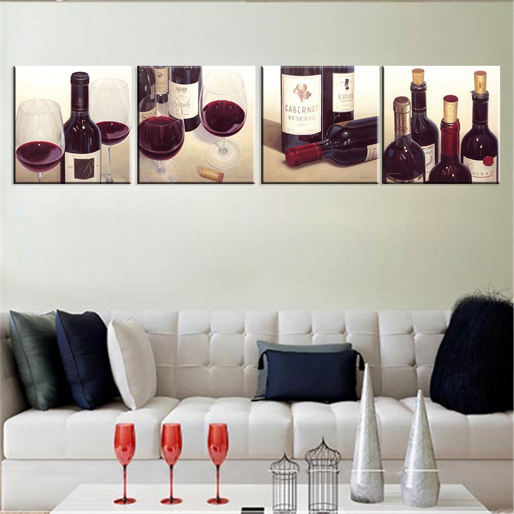 Painting Wall For Living Room Unframed Canvas Art Print Red Wine Cuadros Decoration Home Decor