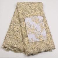 Новое поступление довольно тяжелый ручной африканские кружевная ткань с вышивкой бисером французского фатина кружевной ткани
