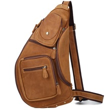TIDING Dark Brown Genuine Leather Sling Bag Cross body Shoulder Bag Adjustable Capacity 3073