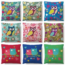 45x45cm Owl Cartoon Linen/cotton Sofa Bed Cushion Cover Throw Pillow Case Car Decorbox Home Decor Supplies