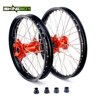 BIKINGBOY For KTM EXC MXC SX F XC SXS 125 250 300 350 400 450 505 525 Wheel Rim Orange Hub Front 1.6X21 Rear 2.15X18 Motocross