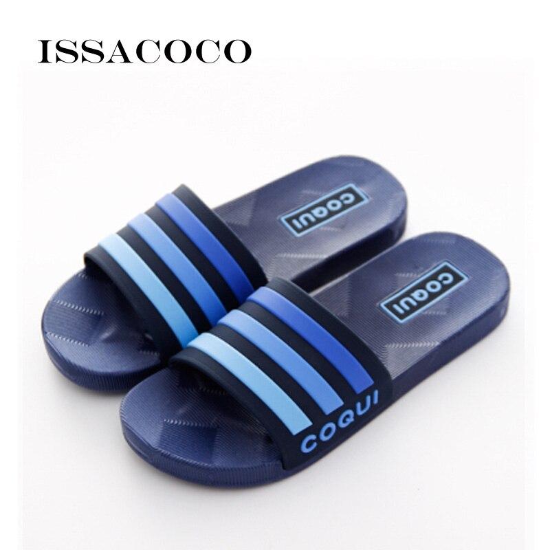 ISSACOCO новые домашние тапочки, мужские слиперы, мужские сандалии, Мужская мягкая пляжная обувь высокого качества для ванной|Тапочки|   | АлиЭкспресс