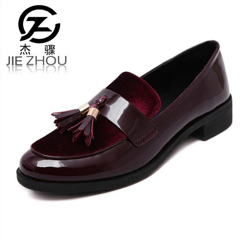 2017 New Arrive Retro tassel shoes female Round head  Thick with shallow mouth Loafers Wine red patent leather Flats Women Shoes retro tiny bell tassel anklet for women