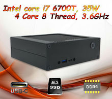 Small desktop computer with Intel core i7 6700T CPU 4C8T up to 3.6GHz Gloway 8GB DDR4 RAM + 256G Samsung PM951 M.2 NVMe SSD(China (Mainland))