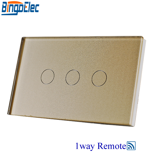 Bingoelec AU/US Standard , Remote Control Light Switch Gold Glass 3gang1way Remote Touch Switch , AC110-250V ,Good Quality. remote switch wall light free shipping 3 gang 1 way remote control touch switch us standard gold crystal glass panel led
