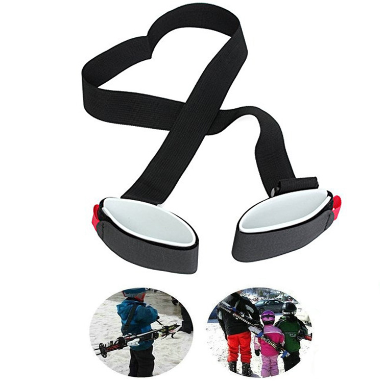 Adjustable Skiing Pole Shoulder Hand Carrier Latch Handle Straps Porter Hook Loop Protecting Black Nylon Ski Handle Strap Bags
