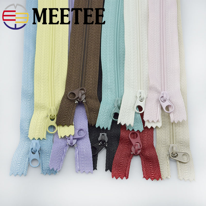 10/30pc Meetee 3# 20cm Nylon Zippers Colse End Coil Zip Tailor DIY Handmade Accessories Sewing Craft Bags Garment Material A4-12