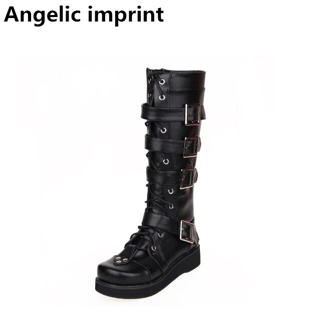 Angelic imprint mori girl Women shoes lady lolita punk motorcycle Boots woman low heels wedges pumps