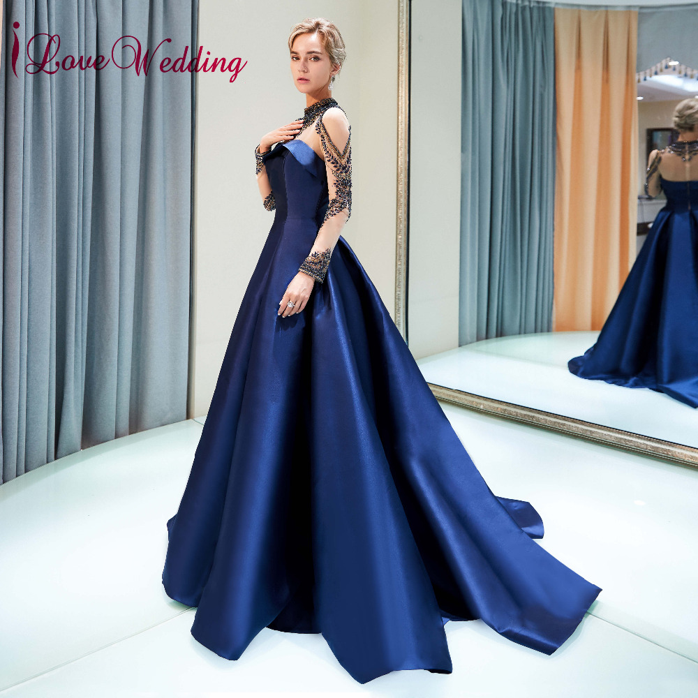 4118314d6f iLoveWedding High Collar Long Sleeves Navy Crystal Beaded Satin Skirt Ball  Gown Evening Dresses 2018 Real Photo-in Evening Dresses from Weddings    Events on ...