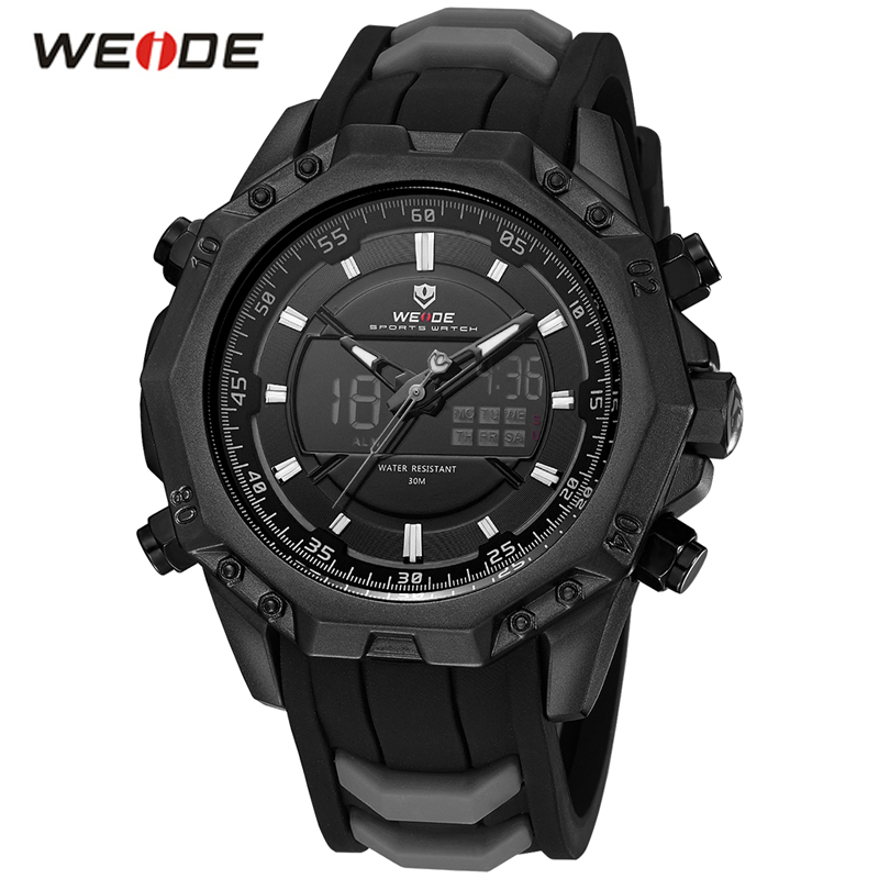 WEIDE Men Sport Analog Quartz Movement Display Day Back Light Alarm Black Silicone Strap Buckle Auto Date Army Watch Wristwatch goblin shark sport watch 3d logo dual movement waterproof full black analog silicone strap fashion men casual wristwatch sh165