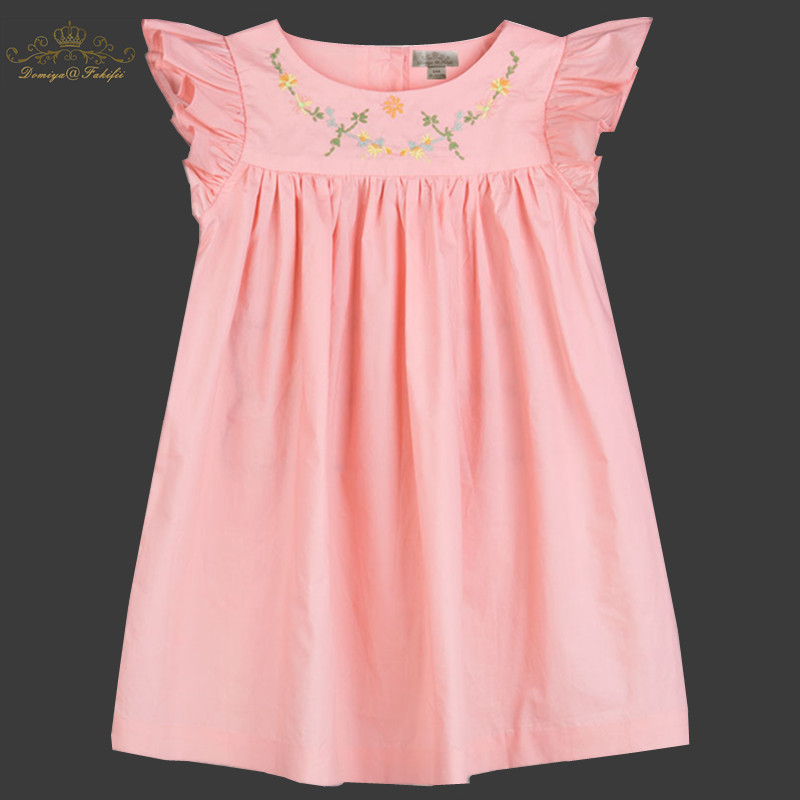 1-8y Girls Clothing Summer 2018 Brand Girl Dress Children Kids Flower Embroidery Dress Girls Cotton Kids Dress Children Clothes 2 7y girls clothing summer girl dress children kids berry dress back v dress girls cotton kids vest dress children clothes 2017