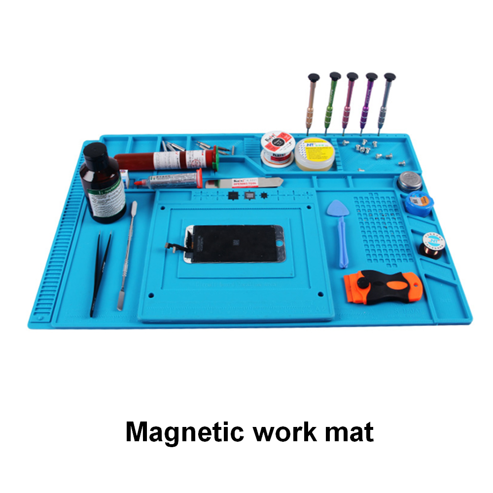 Heat Insulation Magnetic Silicone Mat BGA Soldering Station Platform PC Computer LCD Screen Repair Desk Pad S-120 To S-180 A2