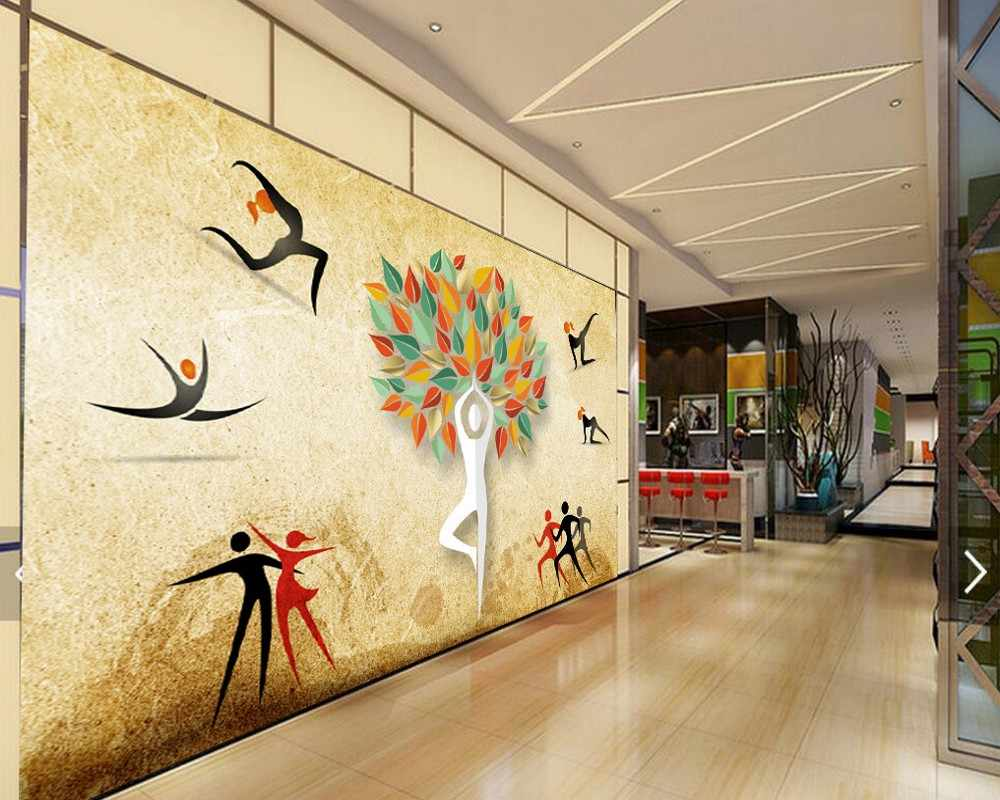 studio yoga dance background wall mural industrial painting shipping custom deco modeling retro related