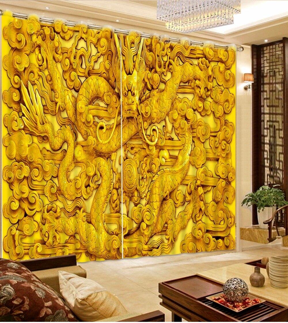 Nouveau personnalisé 3D beau rideau 3D Dragon doré Sculpture chambre salon bureau hôtel Cortinas tissu rideau occultant