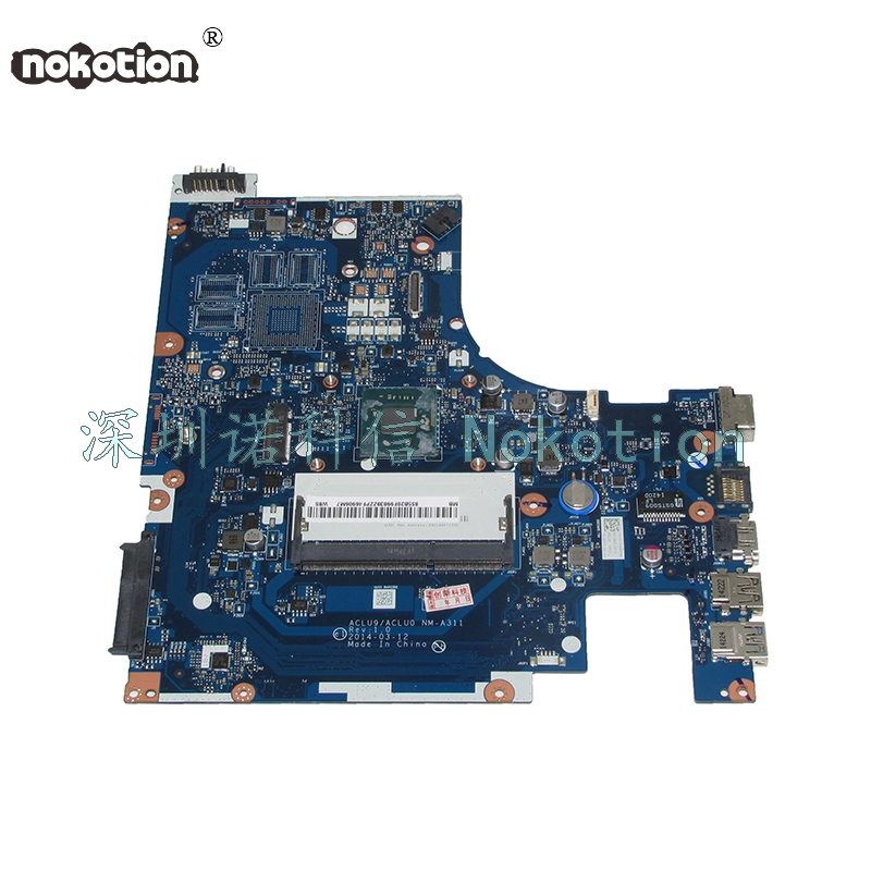 NOKOTION ACLU9 ACLU0 <font><b>NM</b></font>-<font><b>A311</b></font> Laptop motherboard For lenovo Ideapad G50-30 SR1W4 N2830 CPU Main board works image
