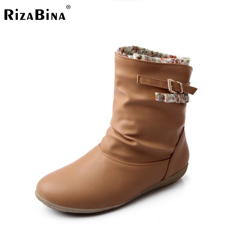 RizaBina women flat boots half short boot riding snow warm winter botas bohemia quality footwear shoes P20413 size 34-40 coolcept size 35 40 ross strap flat mid calf boots women thickened fur winter warm snow half short boot footwear shoes p21267