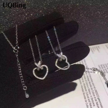 Drop Shipping 925 Sterling Silver Necklace Zirconia Crystal Heart Bowknot Pendants&Necklaces Jewelry Collar Colar de Plata