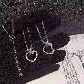 Envío Directo Collar de Plata de ley 925 Zirconia Corazón de cristal Bowknot colgantes y collares Collar de joyería Colar de Plata
