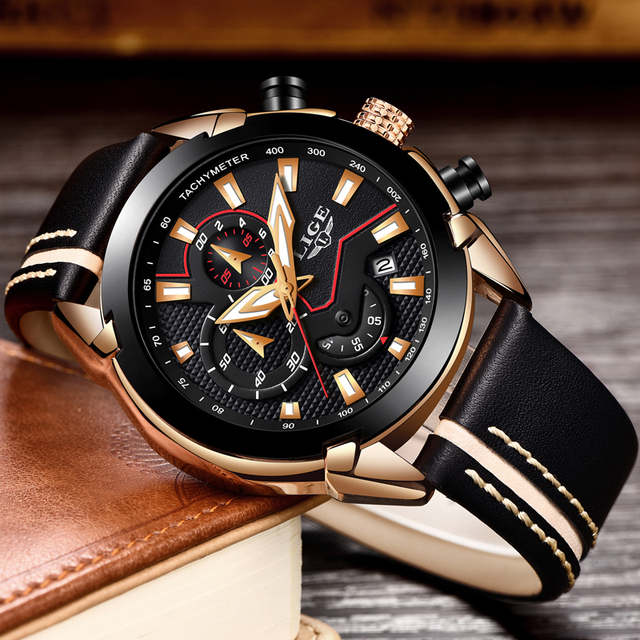 LIGE Men's Fashion Design Leather Date Chronograph Quartz Watches 1