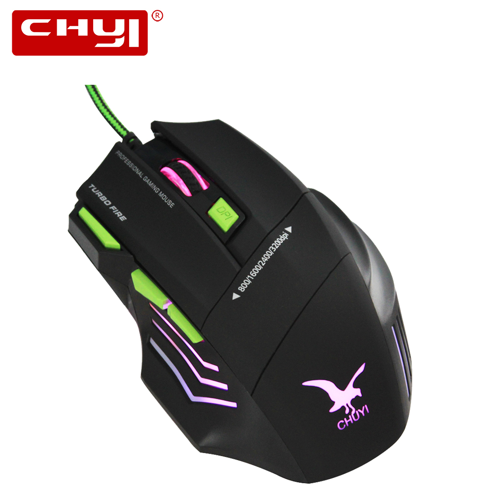 CHYI New 2 Color 7 Buttons 3200 DPI Wired Mouse Optical Gaming Mouse Gamer Mice LED Colorful Flashing PC CSGO LOL Computer Mouse