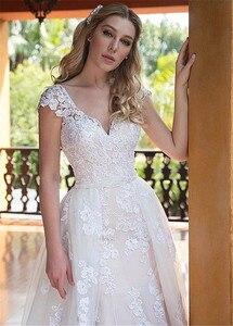 Image 5 - Robes de mariée 2 en 1 en Tulle, col en v, robes avec Appliques et perles, robe de mariée deux pièces avec jupe détachable