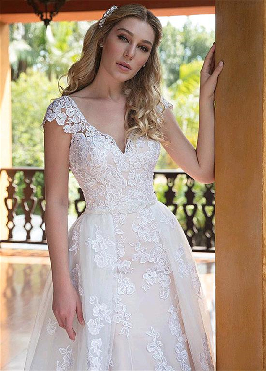 Image 5 - Tulle V neck Neckline 2 In 1 Wedding Dresses With Lace Appliques & Beadings Two Pieces Bridal Dress with Detachable Skirt-in Wedding Dresses from Weddings & Events