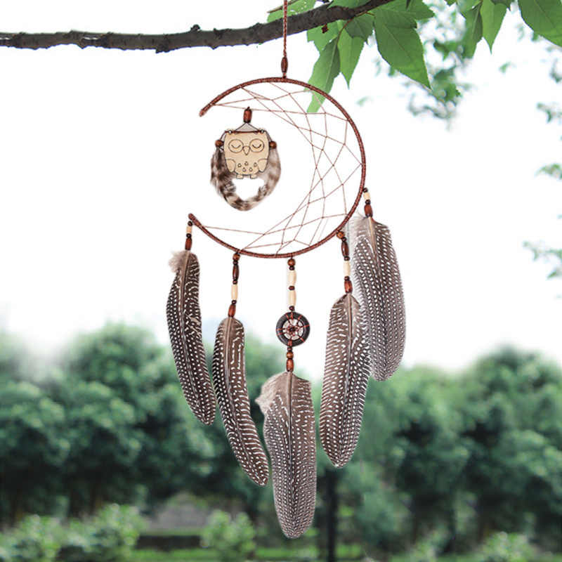 Nordic Style Owl Dreamcatcher Fashion Home Decor Birthday Gifts Wind Chimes Dream Catcher Natural Feathers Wall Hangings