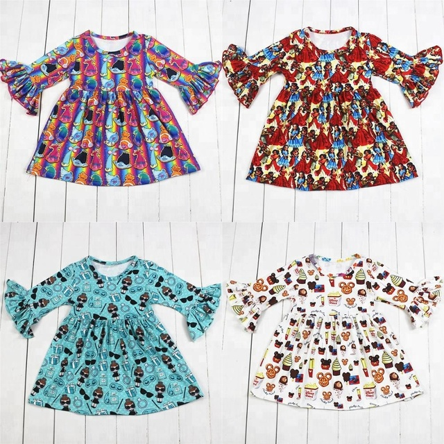 4 עיצובים בנות מסיבת שמלת ילדים של בוטיק בגדי בובת הדפסי בנות שמלת תינוק שמלות Milksilk בתפזורת wholesales 2019