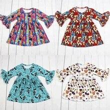 Vestido de fiesta para niñas de 4 diseños, ropa de boutique para niños, vestido con estampado de muñecas para niñas, vestidos de bebé de seda de leche al por mayor 2019