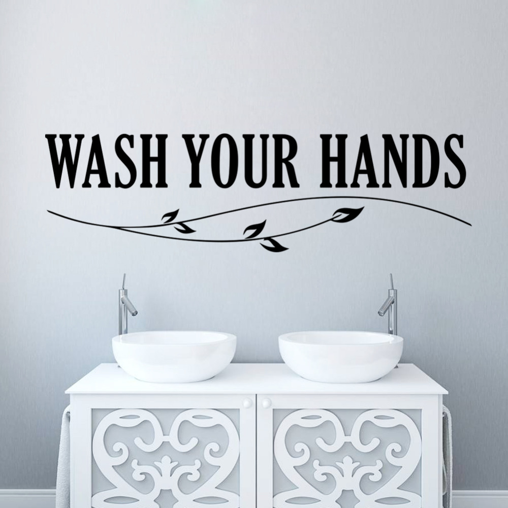 Bathroom wall decor quotes - Aliexpress Com Buy Wash Your Hands Wall Sticker Quotes Bathroom Toilet Wall Decor Poster Waterproof Art Vinyl Decal Bathroom Wall Stickers From Reliable