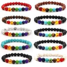 Nuevo brazalete de 7 Chakras para hombres, Lava negra, cuentas sanadoras equilibrio Reiki Buddha, pulsera de Yoga de piedra natural para mujeres