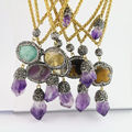 For Women 5Pcs Natural Amethyst & Mixed Style Stone Druzy Pendant, With Crystal Rhinestone Paved Charm Jewelry Pendant Necklace