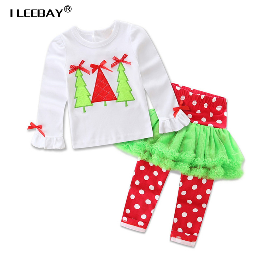 2018 Infant Baby Girls Christmas Outfits Kids 2pcs Clothing Sets ...
