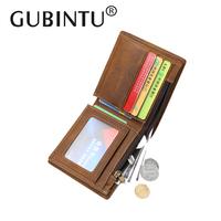 GUBINTU Retro Lxury Genuine Cow Leather Men Wallets Carteira Brand Design Male Money Purses Coin Purse