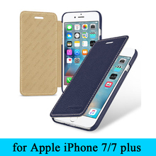High Quality Cow Leather Flip Case for Apple iPhone7 iPhone 7 100% Top Grade Genuine Leather Cover Skin for iPhone 7plus+Giftt
