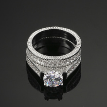 Silver Color Luxury 2 Rounds Bijoux Fashion Wedding Ring Set Cubic Zirconia For Women