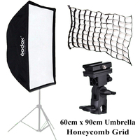 Godox 60cm x 90cm Umbrella Octagon Softbox Reflector+Honeycomb Grid for Studio Photo Flash Speedlite+B Type Flash Holder Bracket