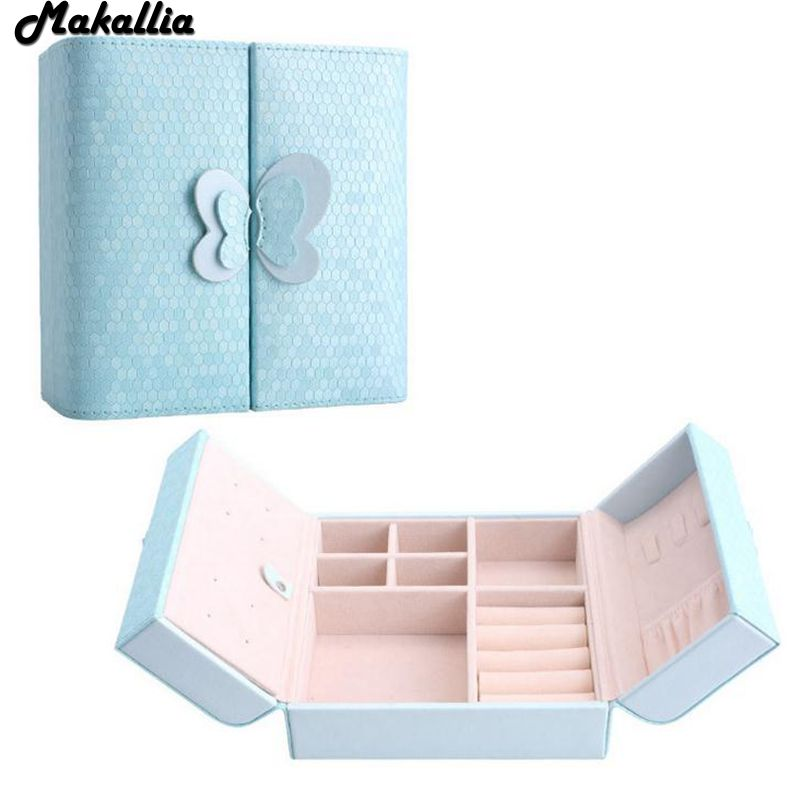 MAKALLIA Candy Color Double butterfly door Portable Jewelry Case Leather Jewelry Box Princess Dressing Birthday Gift /Casket