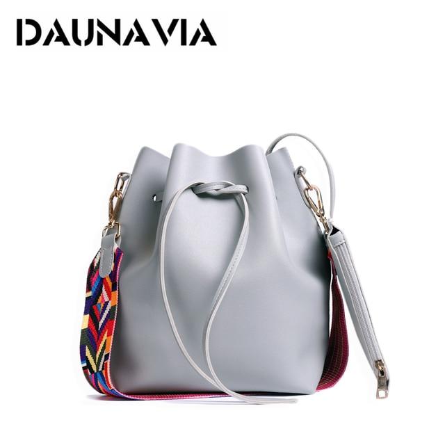 DAUNAVI Women Bucket Bags Women's Handbags PU Leather Tassel Brands Tote Bag Shoulder Messenger Bags Ladies Crossbody Bag Bolsas