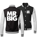 Hot 2015 New Arrival Winter Fashion Hip Hop Leather Casual Punk Mr Big Rock Band Baseball Mens Jackets And Coats Sweatshirts 3XL