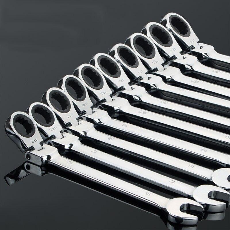 6-32mm crv 유연한 래칫 스패너 조합 헤드 렌치 자동차에 대 한 조정 가능한 손 도구
