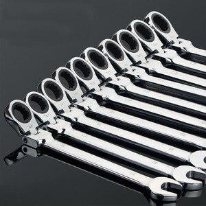 Image 1 - Gratis Schip 1Pc 6 32Mm Crv Flexibele Ratelsleutel Combinatie Hoofd Moersleutel Verstelbare Handgereedschap Voor Auto