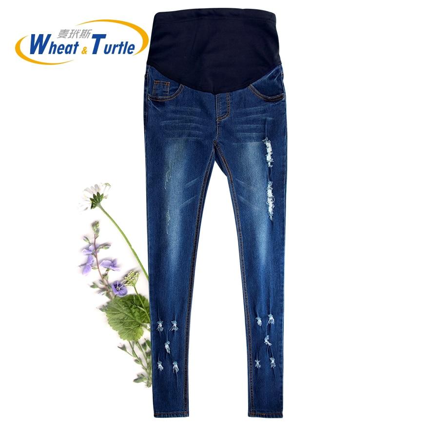2018 vendita calda di buona qualità del cotone denim skinny i jeans di maternità fori tasche cuciture a contrasto matita jeans per le donne incinte