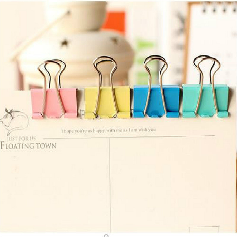 20Pcs Colorful Metal Binder Clips Paper Clip 15mm School Office Learning Supplies Color Random High Quality(China)