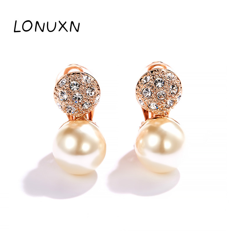 high quality 925 Sterling Sliver Crystal cute Rose flowers Shape Pearl Earring Romantic women Jewelry best Gift girls earrings